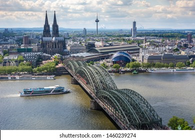 COLOGNE, GERMANY - MAY 12: Cityscape of Cologne, Germany on May 12, 2019. View from Triangle tower to the cathedral and Hohenzolern Bridge.