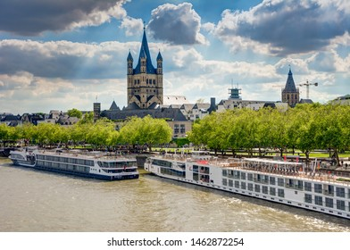 COLOGNE, GERMANY - MAY 12: Ships at the river Rhine in Cologne, Germany on May 12, 2019.