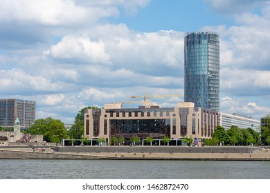 COLOGNE, GERMANY - MAY 12: The Triangle Tower in Cologne, Germany on May 12, 2019. The building was designed by Doerte Gatermann, built 2006.