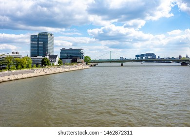 COLOGNE, GERMANY - MAY 12: Waterfront of the river Rhine in Cologne, Germany on May 12, 2019.