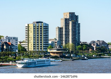COLOGNE, GERMANY - MAY 13: Ship at the river Rhine in Cologne, Germany on May 13, 2019.