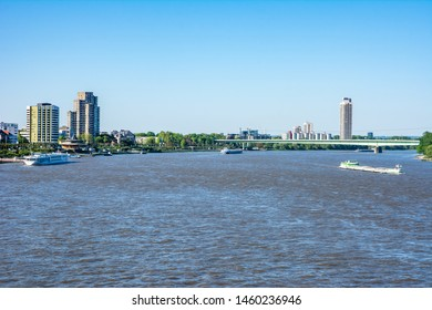 COLOGNE, GERMANY - MAY 13: Waterfront of the river Rhine in Cologne, Germany on May 13, 2019.