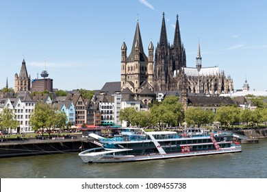 COLOGNE, GERMANY - May 5, 2018: excursion boat RHEINFANTASIE of KD Köln Düsseldorfer on the river Rhine. RHEINFANTASIE has a capacity up to 1000 passengers and is 85 m long.