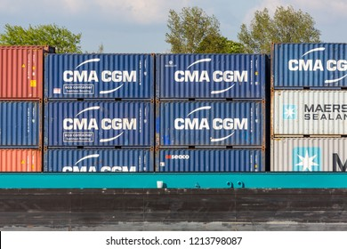 Cologne, Germany - May 7 2016: CMA CGM container aboard container ship CAMARO II (ENI 02324795, built in 2002), push towing barge CAMARO XIV and push unit CAMARO XIII