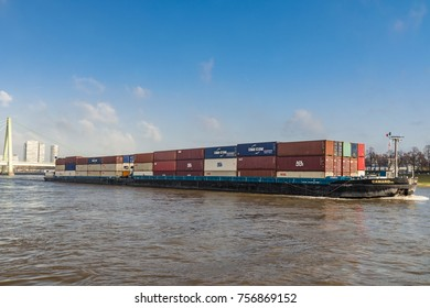 Cologne Germany November 2017, Inland shipping transport on the rhine river with containers
