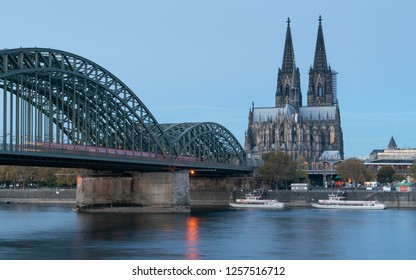 COLOGNE, GERMANY - NOVEMBER 7, 2018: Panorama of the city of Cologne with cathedral, Rhine river and Hohenzollern bridge on November 7, 2018 in Germany, Europe