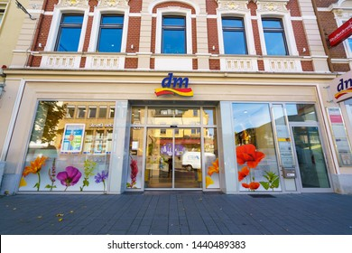COLOGNE, GERMANY - October 12, 2018: A DM market in the Bergisch Gladbach region of Cologne. DM (Drogerie-markt) sells cosmetics, healthcare items and household products.
