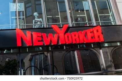 COLOGNE, GERMANY OCTOBER, 2017: New Yorker logo sign outside a store. This fashion store chain offers modern and stylish outfit for both men and women.