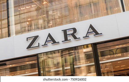 COLOGNE, GERMANY OCTOBER, 2017: Zara logo on a store. Zara is a Spanish clothing and accessories retailer based in Arteixo, Galicia, and founded in 1975 by Amancio Ortega and Rosalia Mera.