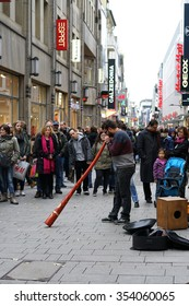 COLOGNE, GERMANY - OCTOBER 23, 2015: street musicians in a shopping street in the center of Cologne