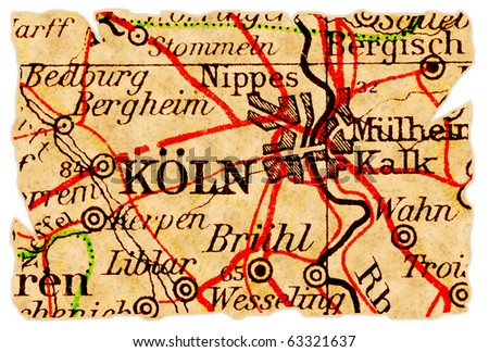 Cologne Germany On Old Torn Map Stock Photo Edit Now 63321637
