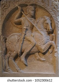COLOGNE, GERMANY - SEP 15, 2016 - Bas relief of Roman cavalry man,  Roman - Germanic Museum,  Cologne, Germany