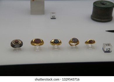 COLOGNE, GERMANY - SEP 15, 2016 - Ancient Rome signet seal rings from burial site,  Roman - Germanic Museum,  Cologne, Germany
