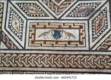 COLOGNE, GERMANY - SEP 15, 2016 - Geometric floor mosaic pattern,  Roman - Germanic Museum,  Cologne, Germany