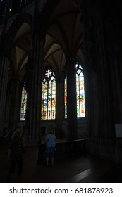 COLOGNE, GERMANY - SEP 15, 2016 - Stained glass windows, St Peter's Cathedral,  Cologne, Germany