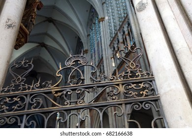 COLOGNE, GERMANY - SEP 15, 2016 - Ornate iron grill work in St Peter's Cathedral,  Cologne, Germany