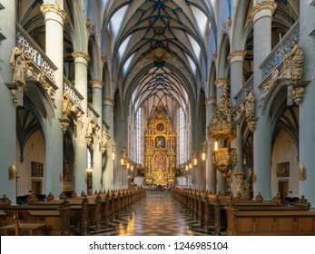 COLOGNE, GERMANY - SEPTEMBER 14, 2018: View throught the main aisle of the church Assumption of Mary on September 14, 2018 in Cologne, Germany