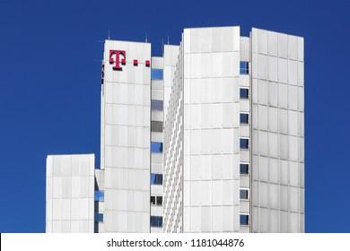 Cologne, Germany - September 2, 2018: Deutsche Telekom building and office in Cologne. Deutsche Telekom is a German telecommunications company headquartered in Bonn