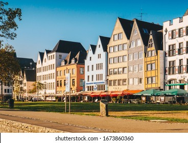 Cologne, Germany - September 2018: Central Cologne city streets near the old city centre in Cologne, Koln, Germany