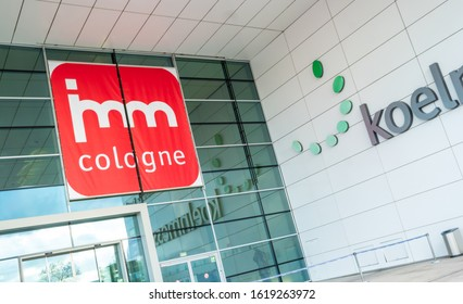 COLOGNE, GERMANY SEPTEMBER, 2019: imm Cologne - international exhibition of furniture and interior design. Logo at the main entrance to the exhibition Koelnmesse.