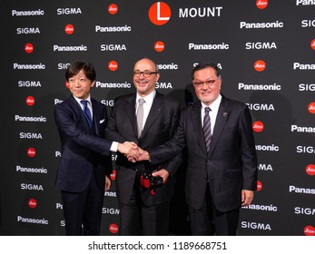 COLOGNE, GERMANY - SEPTEMBER 25, 2018: Press announcement of Sigma, Panasonic and Leica companies to join together under union of an L - MOUNT