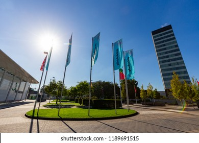 COLOGNE, GERMANY - SEPTEMBER 25, 2018: Flags of Photokina imaging fair at September 25th, 2018