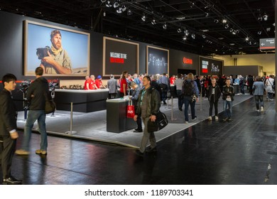 COLOGNE, GERMANY - SEPTEMBER 25, 2018: Canon stand at Photokina, the world's leading trade fair for imaging and photographic solutions