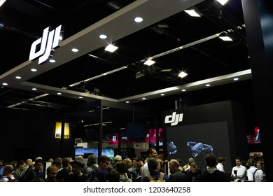 COLOGNE, GERMANY - SEPTEMBER 26, 2018: DJI stand at Photokina 2018 Imaging fair