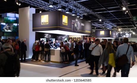 COLOGNE, GERMANY - SEPTEMBER 26, 2018: Nikon stand at Photokina 2018 Imaging fair
