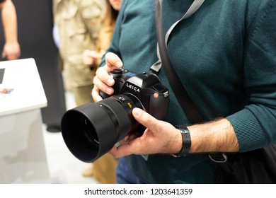 COLOGNE, GERMANY - SEPTEMBER 26, 2018: Leica S3 medium format DSLR at Photokina 2018 Imaging fair