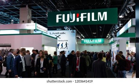 COLOGNE, GERMANY - SEPTEMBER 26, 2018: FUJIFILM stand at Photokina 2018 Imaging fair