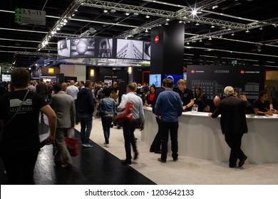 COLOGNE, GERMANY - SEPTEMBER 26, 2018: Leica camera stand at Photokina 2018 Imaging fair