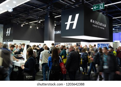COLOGNE, GERMANY - SEPTEMBER 26, 2018: Hasselblad stand at Photokina 2018 Imaging fair