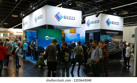 COLOGNE, GERMANY - SEPTEMBER 26, 2018: EIZO stand at Photokina 2018 Imaging fair