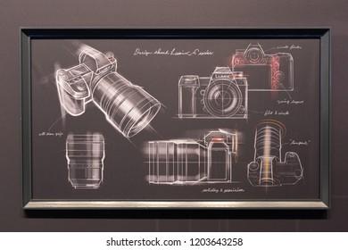 COLOGNE, GERMANY - SEPTEMBER 26, 2018: Drawing of all new Panasonic full frame mirrorless camera at Photokina 2018 Imaging fair