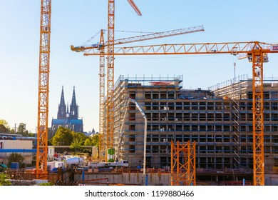 Cologne, Germany - September 27, 2018: large construction site with the Cologne Cathedral in background. Cologne is the largest city of Germany's most populous federal state of North Rhine-Westphalia