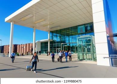 Cologne, Germany - September 27, 2018: side entrance of the Koelnmesse with unidentified people. It is an economy and trade fair and with 284.000 sqm the 5th largests fair of the world