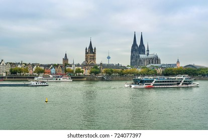 COLOGNE, GERMANY - SEPTEMBER  28:  View of the old town of Cologne. Cologne is one of the most popular destinations in Germany. In the foreground tour boats in the river Rhine.