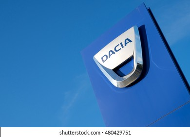 COLOGNE, GERMANY - September 7, 2016: Dacia dealership sign in front of the showroom.  Dacia was founded in 1966 and has been a subsidiary of the French car manufacturer Renault since 1999.