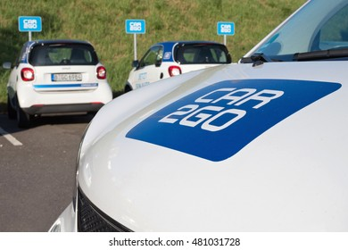 COLOGNE, GERMANY - September 9, 2016:  car2go carsharing Smart Fortwo. car2go is a subsidiary of Daimler AG providing carsharing services in European and North American cities.