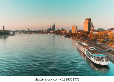 Cologne, Germany - View on Rhine RIver, Cologne Dome - Morning View