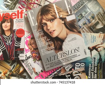 Cologne, Germany-October 30,2017: various of fashion magazines on the table.