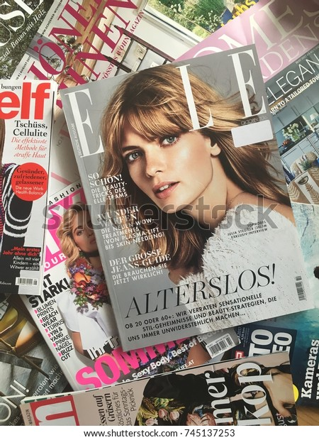 Cologne Germanyoctober 302017 Various Fashion Magazines