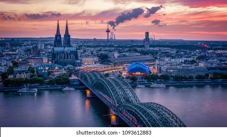 Cologne Koln Germany during sunset, Cologne bridge with cathedral