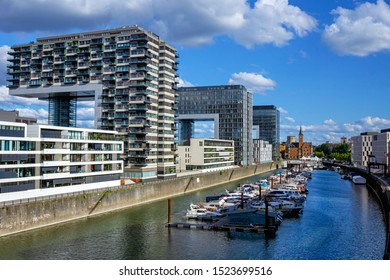 Cologne Kranhaus - modern complex of buildings on the bank of Rhine with beautiful panoramic views, Germany