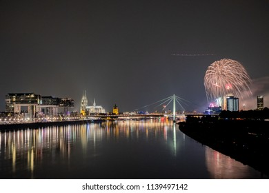 Cologne Lights 2018 - Firework - Panorama at Night