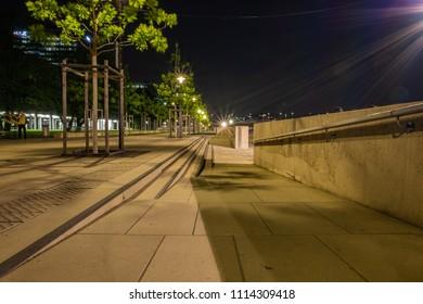 Cologne at night, Rhine Boulevard at night.