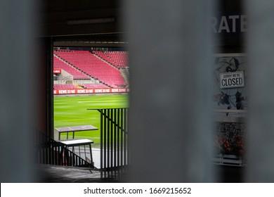 "Cologne, Nordrhein-Westfalen/Germany - 03.10.2020 Closed ""Bundesliga"" football stadium, cologne. Empty soccer tribune due to corona virus, FC Köln."