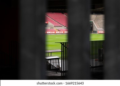 Cologne, Nordrhein-Westfalen/Germany - 03.10.2020 Empty tribune in football stadium, cologne. Corona virus causes empty seats in football game, FC Köln.