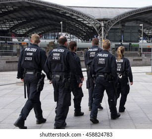 Cologne, North Rhine-Westphalia, Germany June 11, 2016: Police patrolling in Cologne railway station.